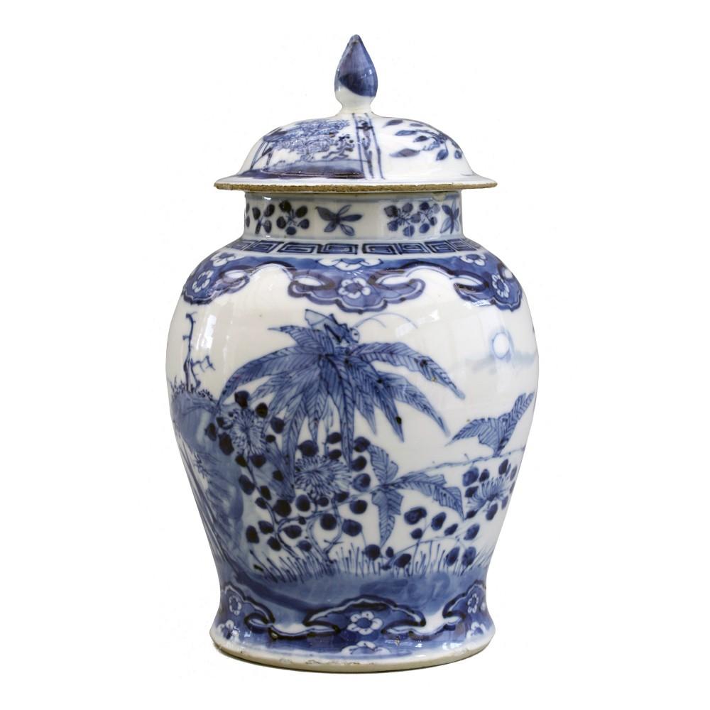 chinese qing blue white insect landscape porcelain lidded jar