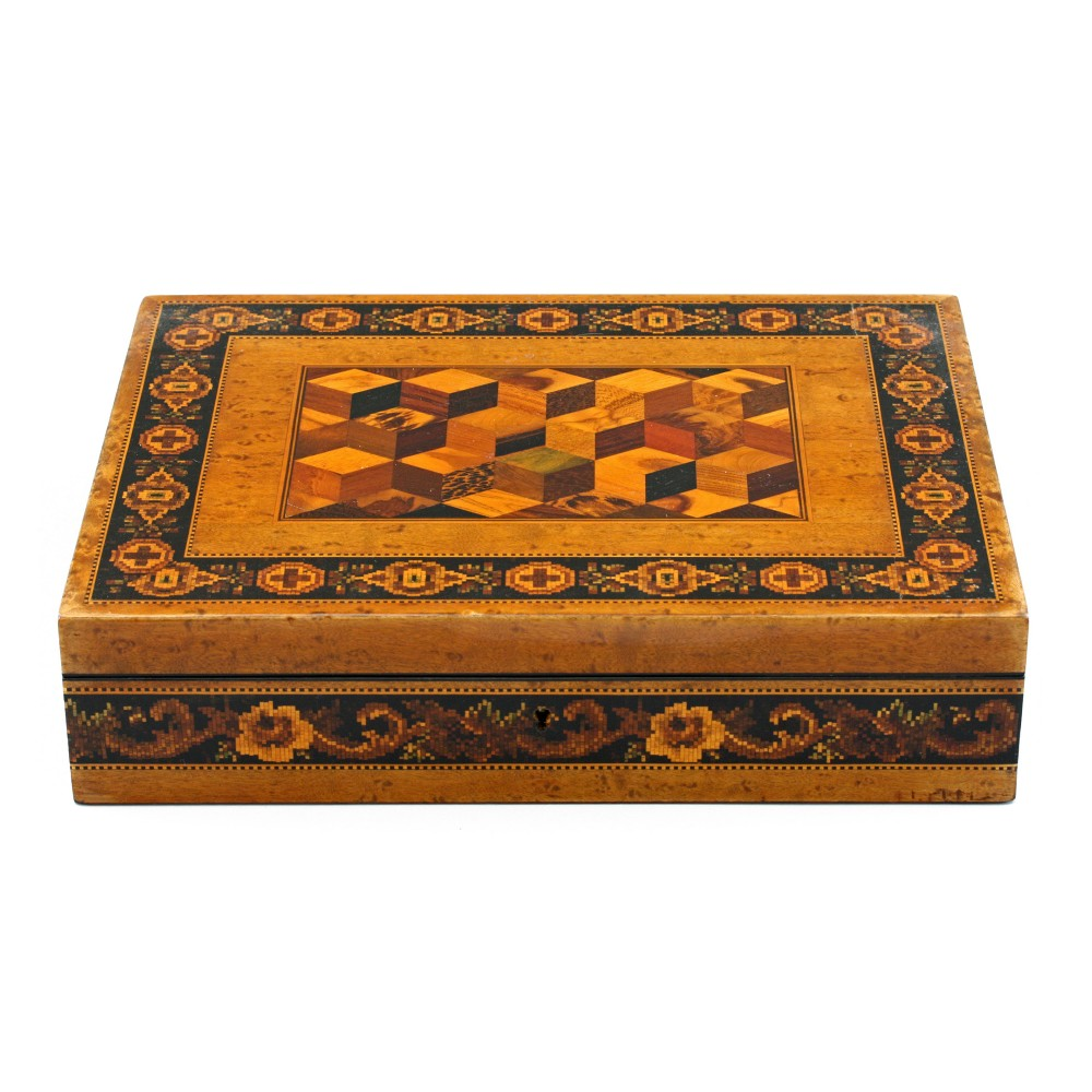 exceptional thomas barton tunbridge ware box 19th c