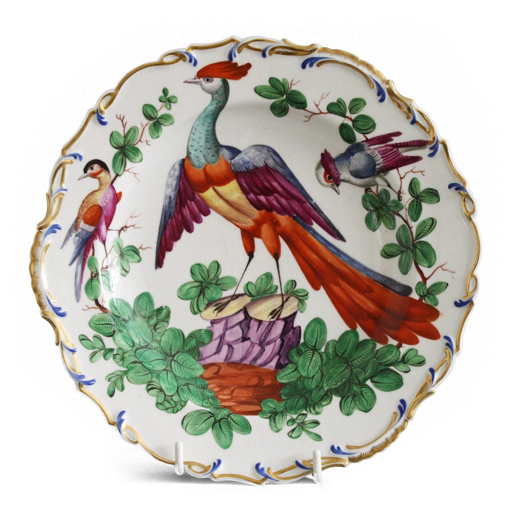 french samson chelsea style pottery exotic bird plate late 19th c