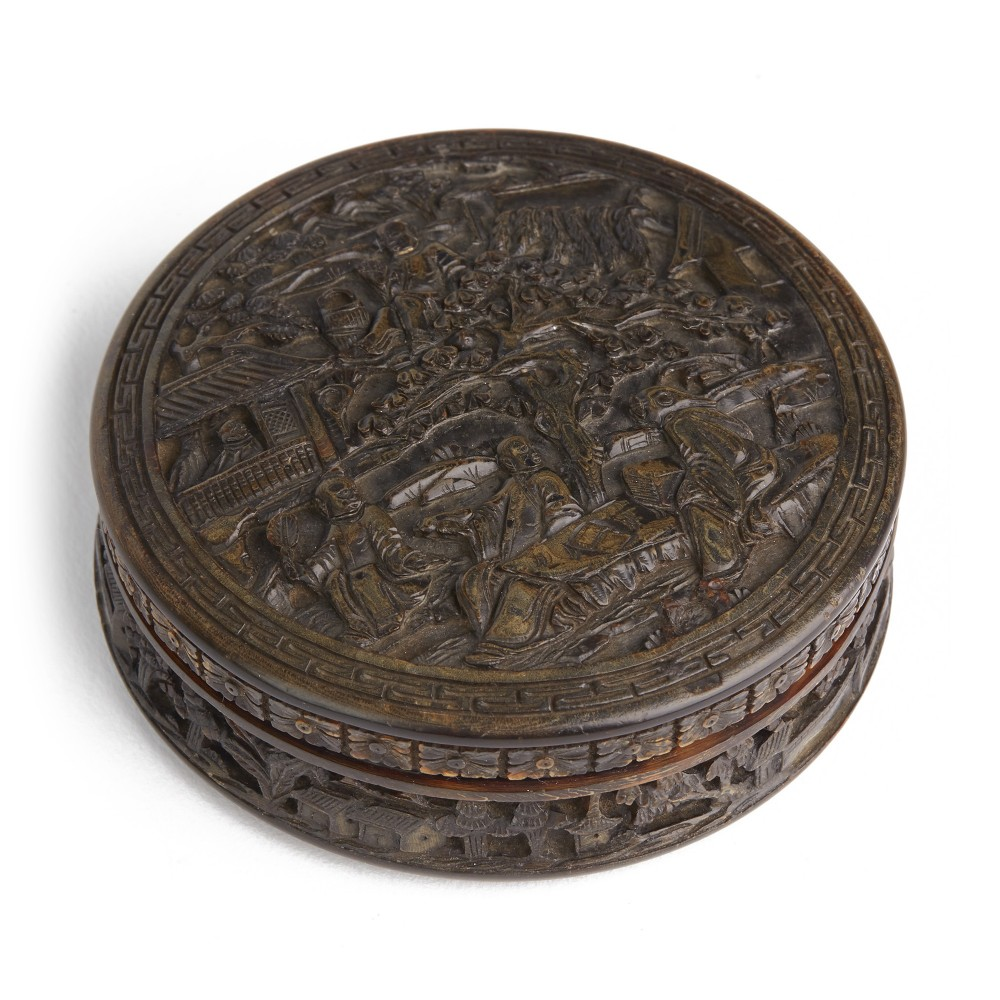 chinese carved tortoiseshell village scene snuff box c1860