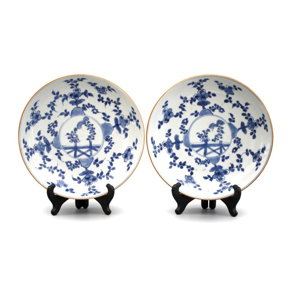 pair chinese kangxi blue white floral porcelain plates