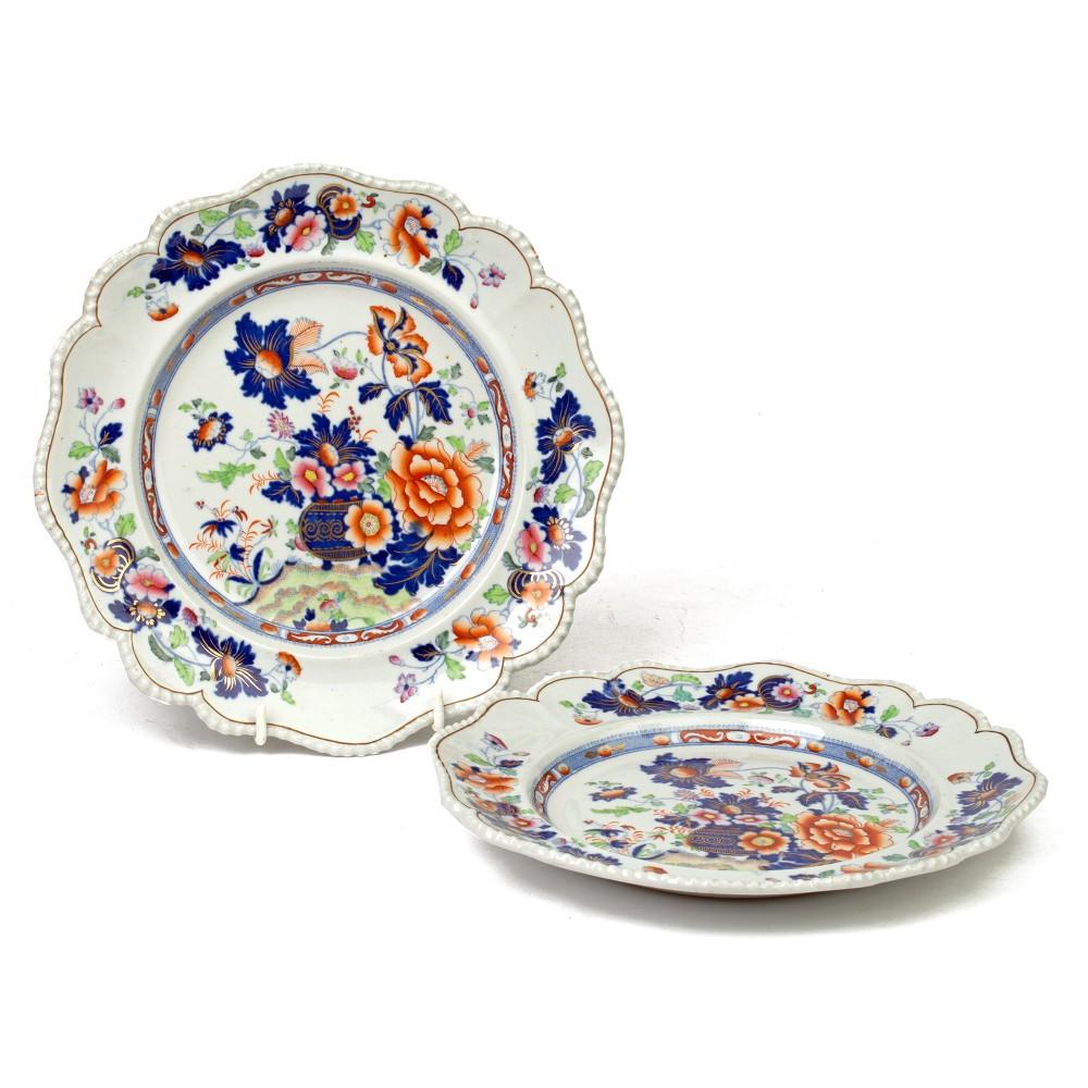 hicks meigh pair imari pattern stone china cabinet plates