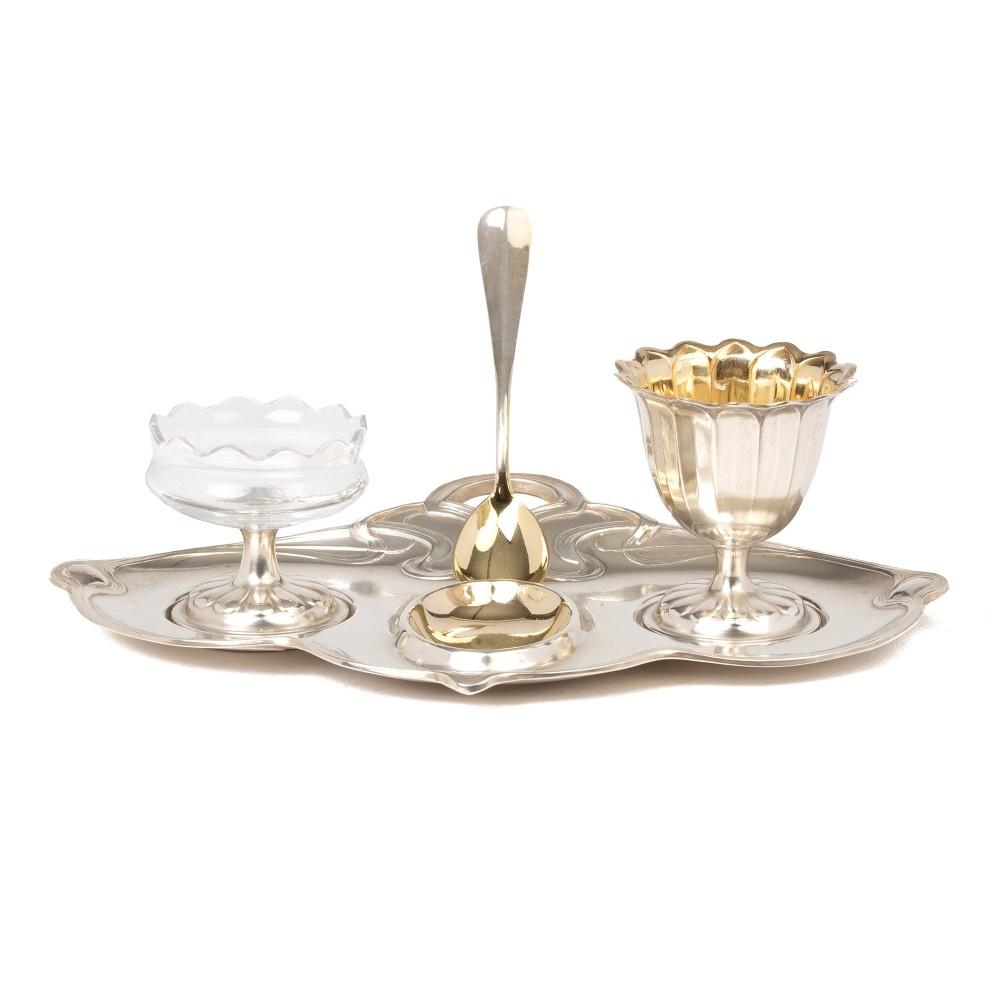 wmf jugendstil silver plated egg salt stand c1900