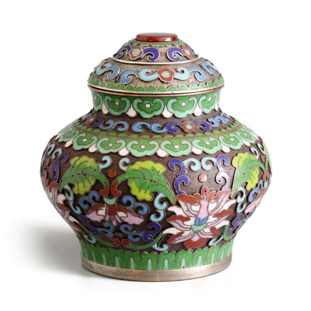 fine chinese antique cloisonne silvered lidded pot early 20th c