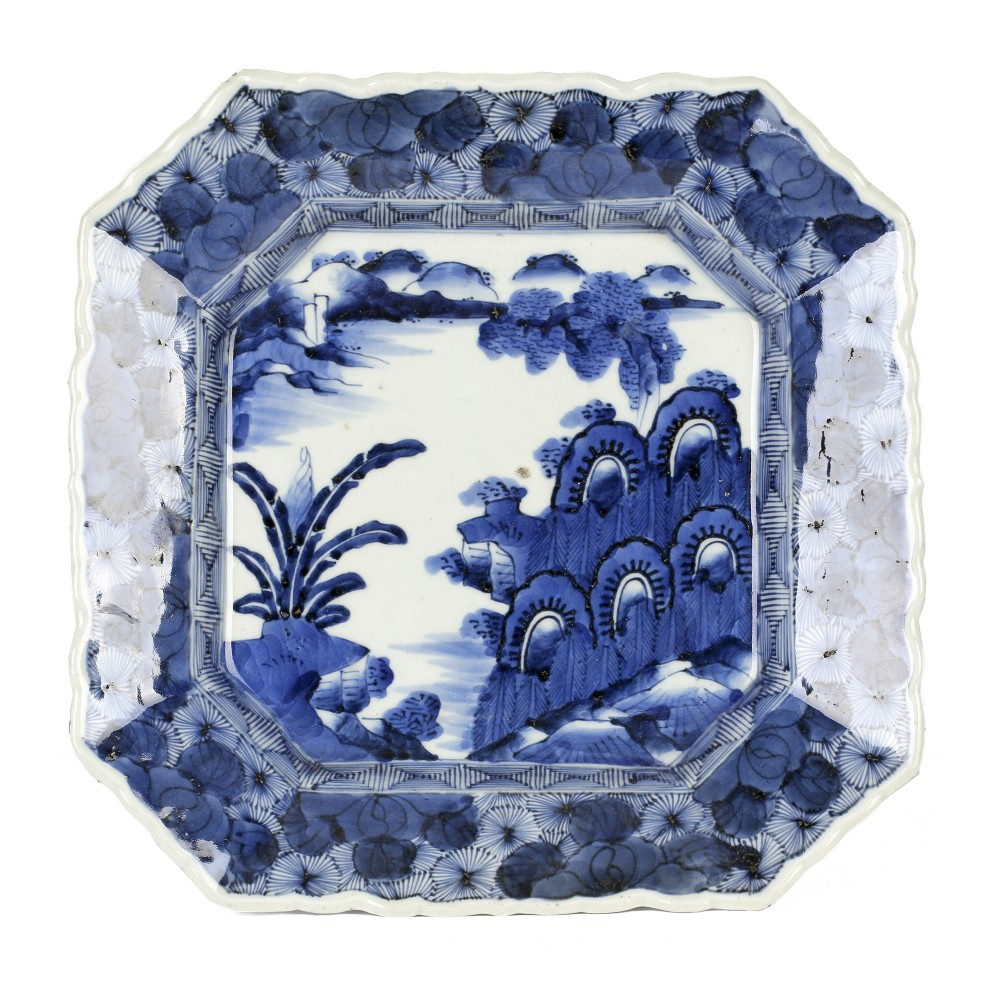 japanese edo period blue white imari porcelain dish