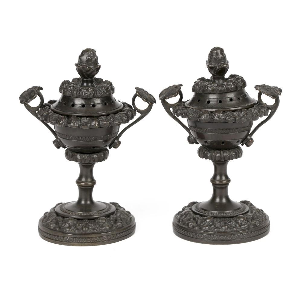 unusual pair georgian bronze patinated lidded pot pourri vases