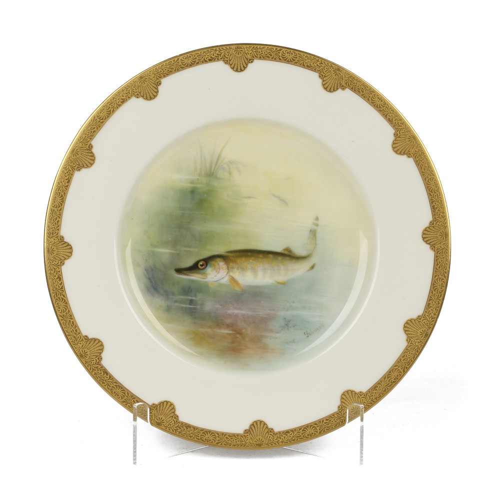 royal worcester cabinet plate painted with a pike signed johnson