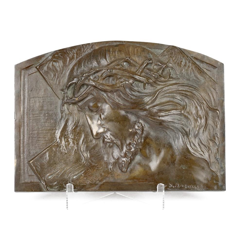 sylvain norga christ crown of thorns bronze sculptural plaque
