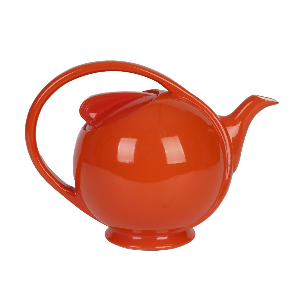 hall china company art deco orange glazed airflow lidded teapot
