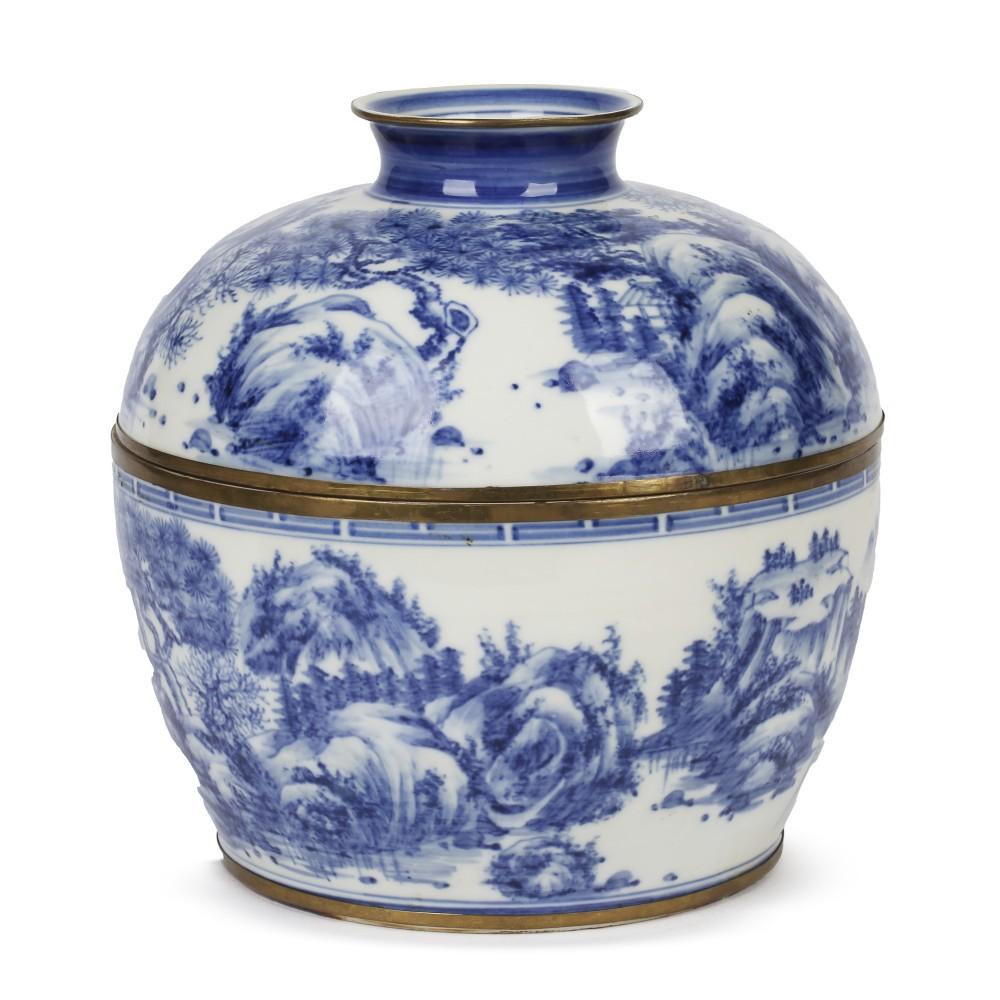 chinese blue white hand painted porcelain lidded rice bowl