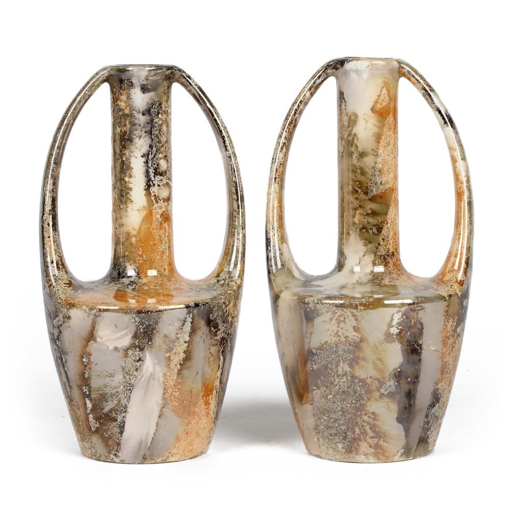 arabia finnish art deco pair twin handled lustre glaze vases