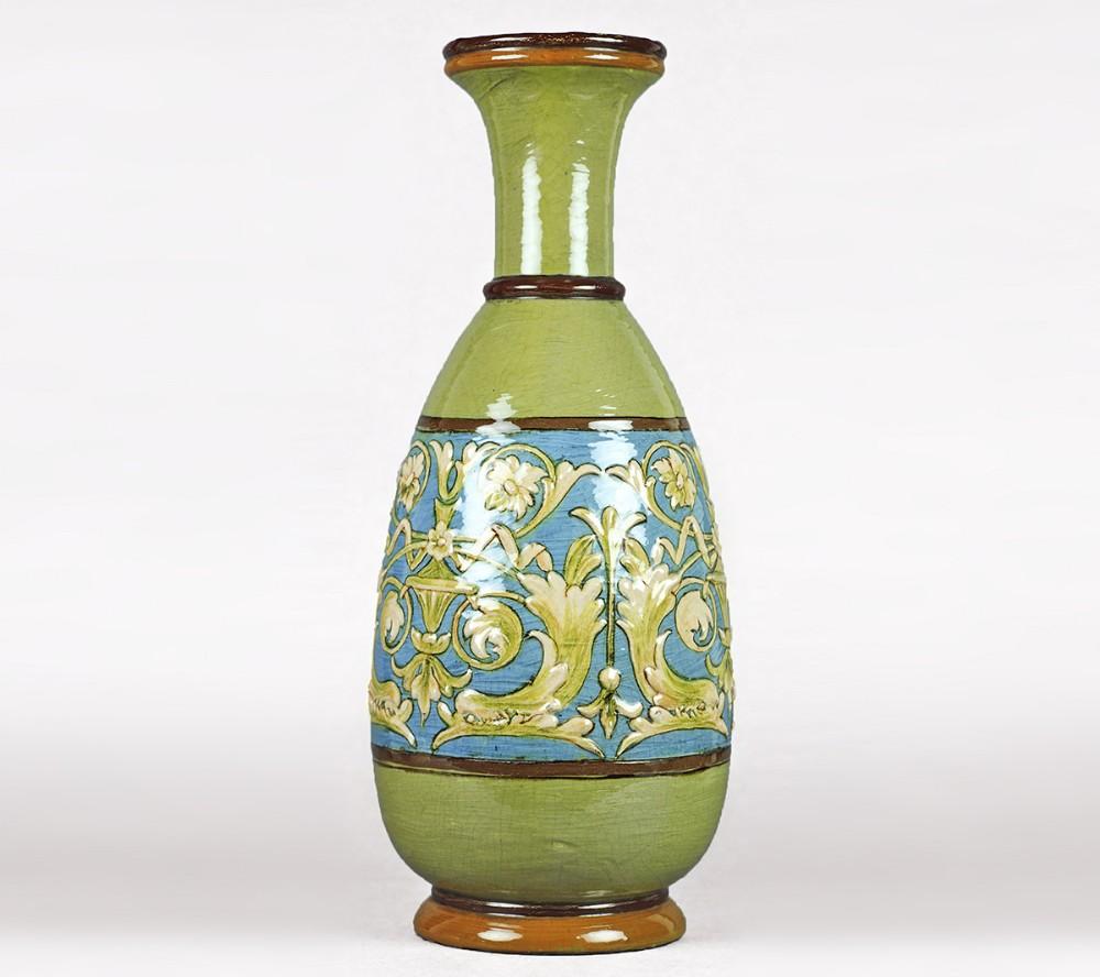 doulton lambeth impasto vase fannie allen 1883