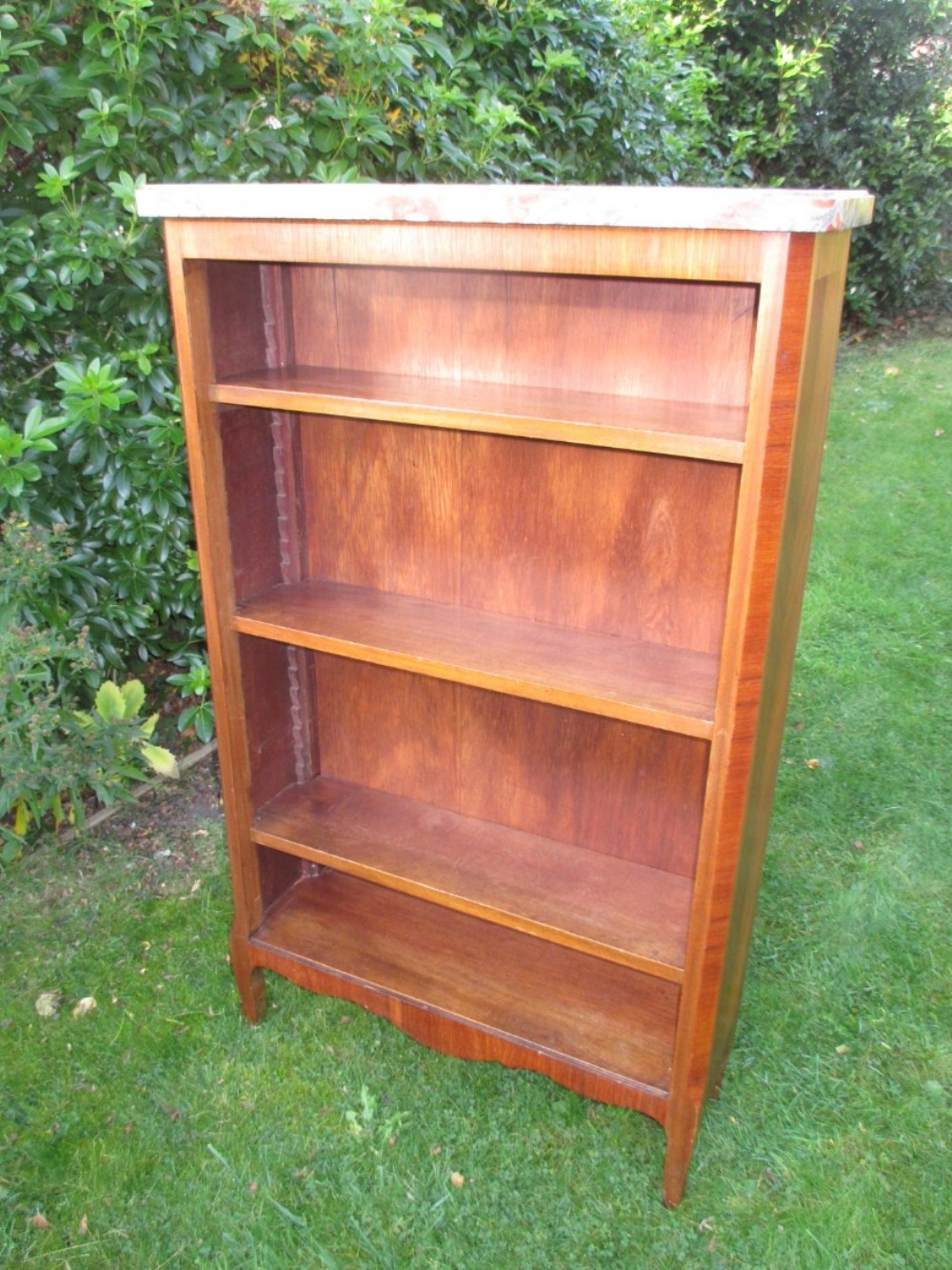 Red Marble Top : French walnut bookcase with red marble top