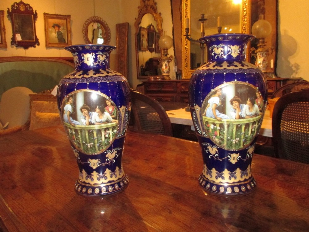 Pair Of Large Royal Limoges Vases 469564 Sellingantiques
