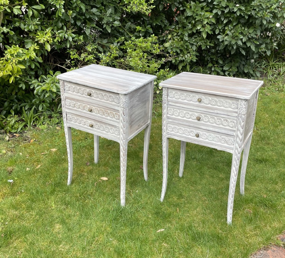 pretty painted pair of french bedsides