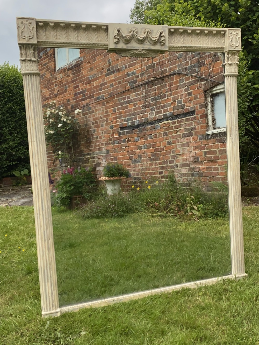 large english painted overmantel mirror