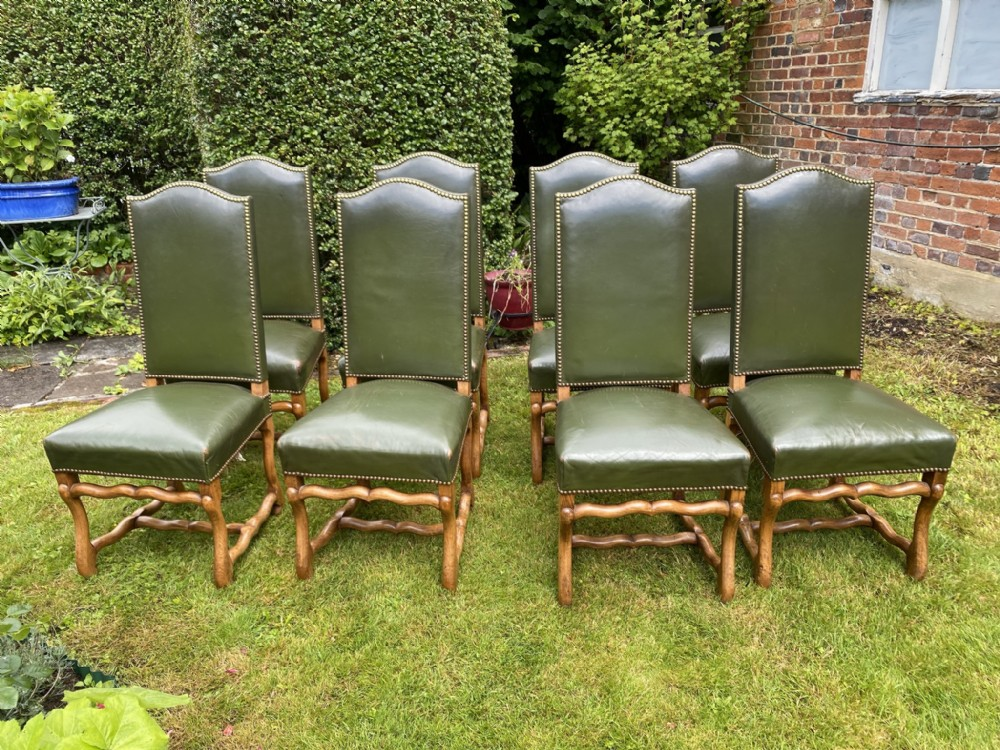 set of eight leather dining chairs