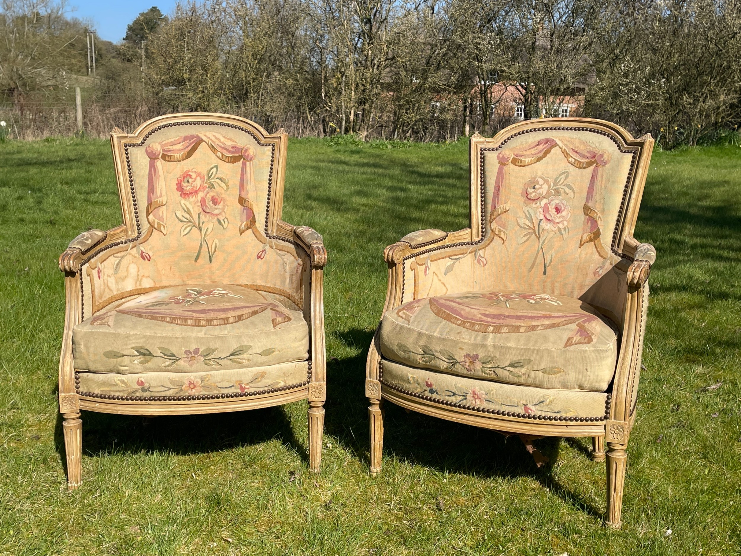 pair of louis 16 style tapestry armchairs