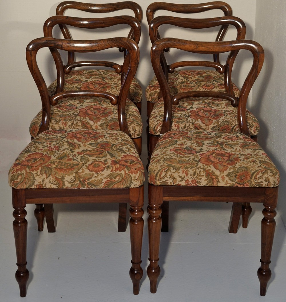 set of six fine early solid rosewood victorian dining chairs