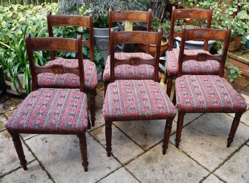 a good set of six late georgian mahogany dining chairs