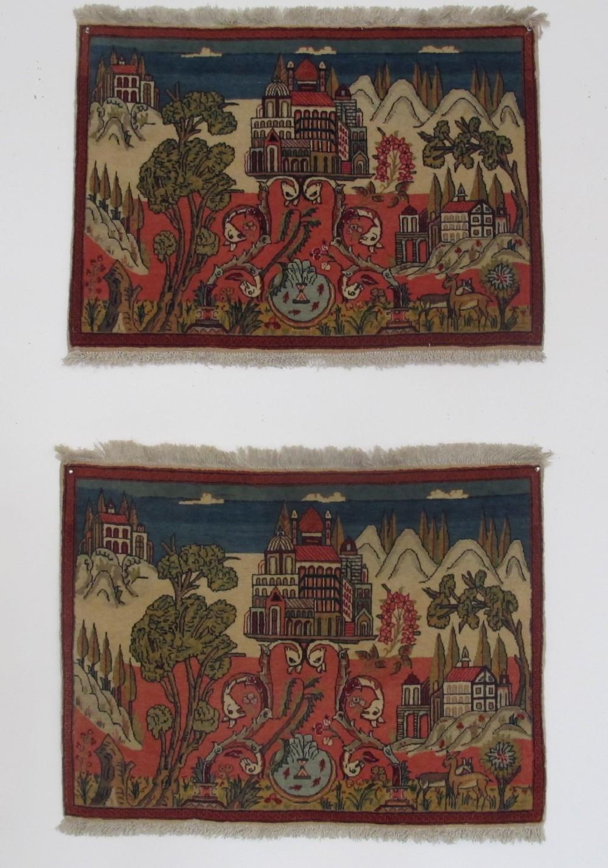 pair of fine kashan pictorial rugs 66cm x 90cm each circa 1920