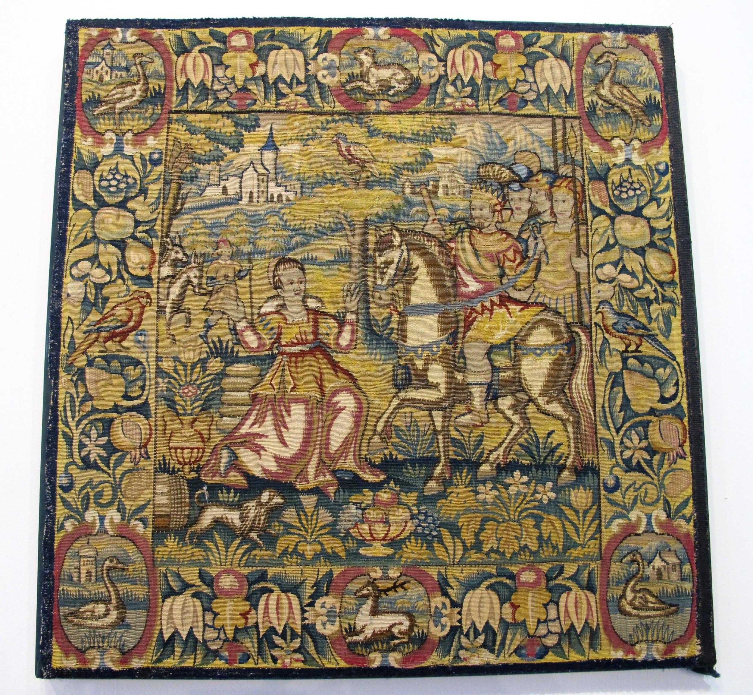 tapestry panel depicting the meeting of king david and abigail probably germany circa 1600