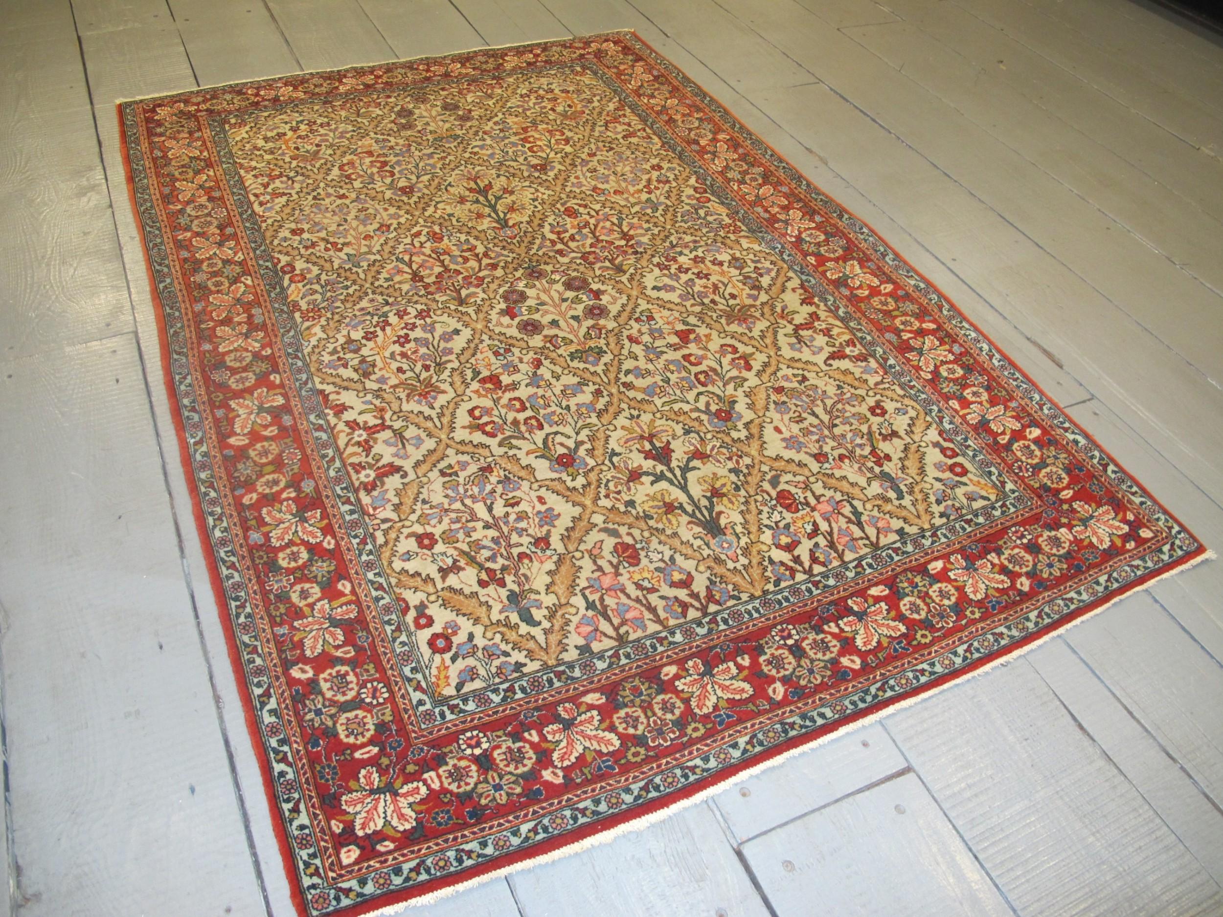 fine persian qum rug 207m x 139m 6'10 x 4'6 circa 1930