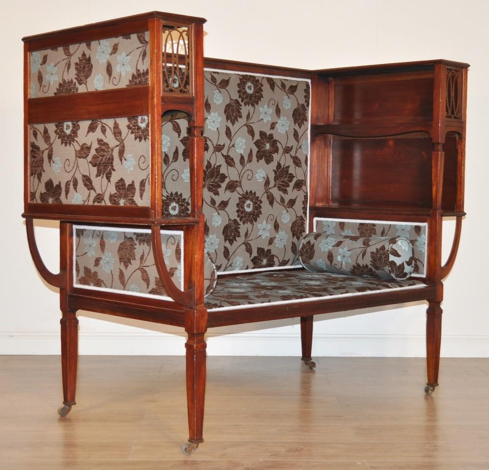Antique Edwardian Mahogany Bench Settee Internal Bookshelves Newly Upholstered 357413