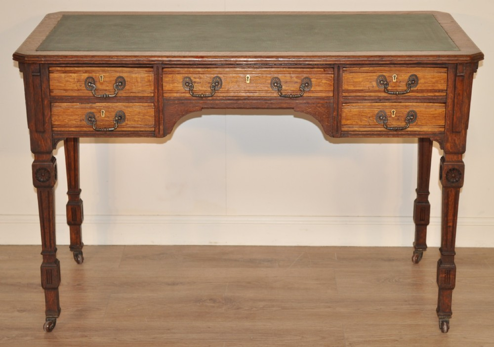 Attractive Small Antique Victorian Oak Twin Pedestal Office Writing Desk Table