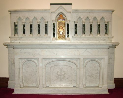 very large antique carved white carrera marble church altar with tabernacle