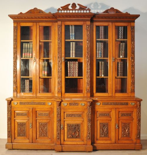 Thumbnail picture of: QUALITY VERY LARGE ANTIQUE VICTORIAN CARVED OAK GLAZED 5 DOOR BOOKCASE CABINET