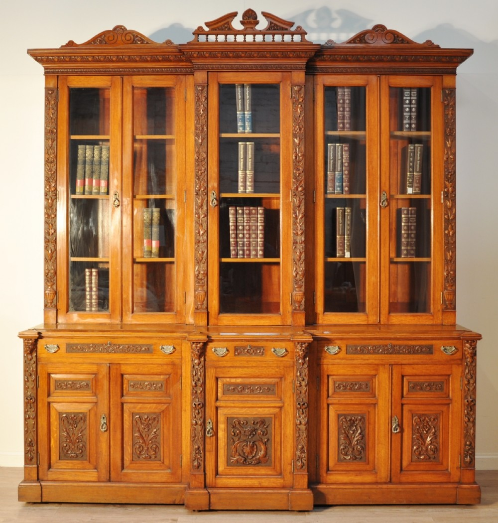 quality very large antique victorian carved oak glazed 5 door bookcase cabinet