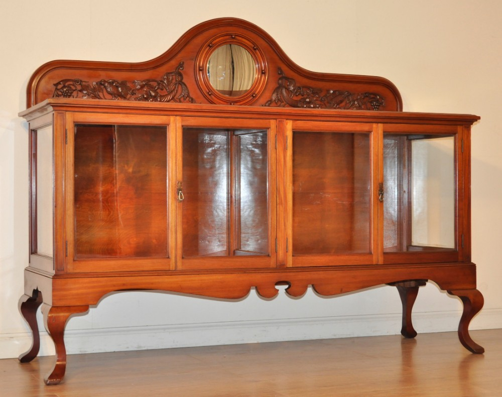 quality antique edwardian mahogany large display shop cabinet carved gallery