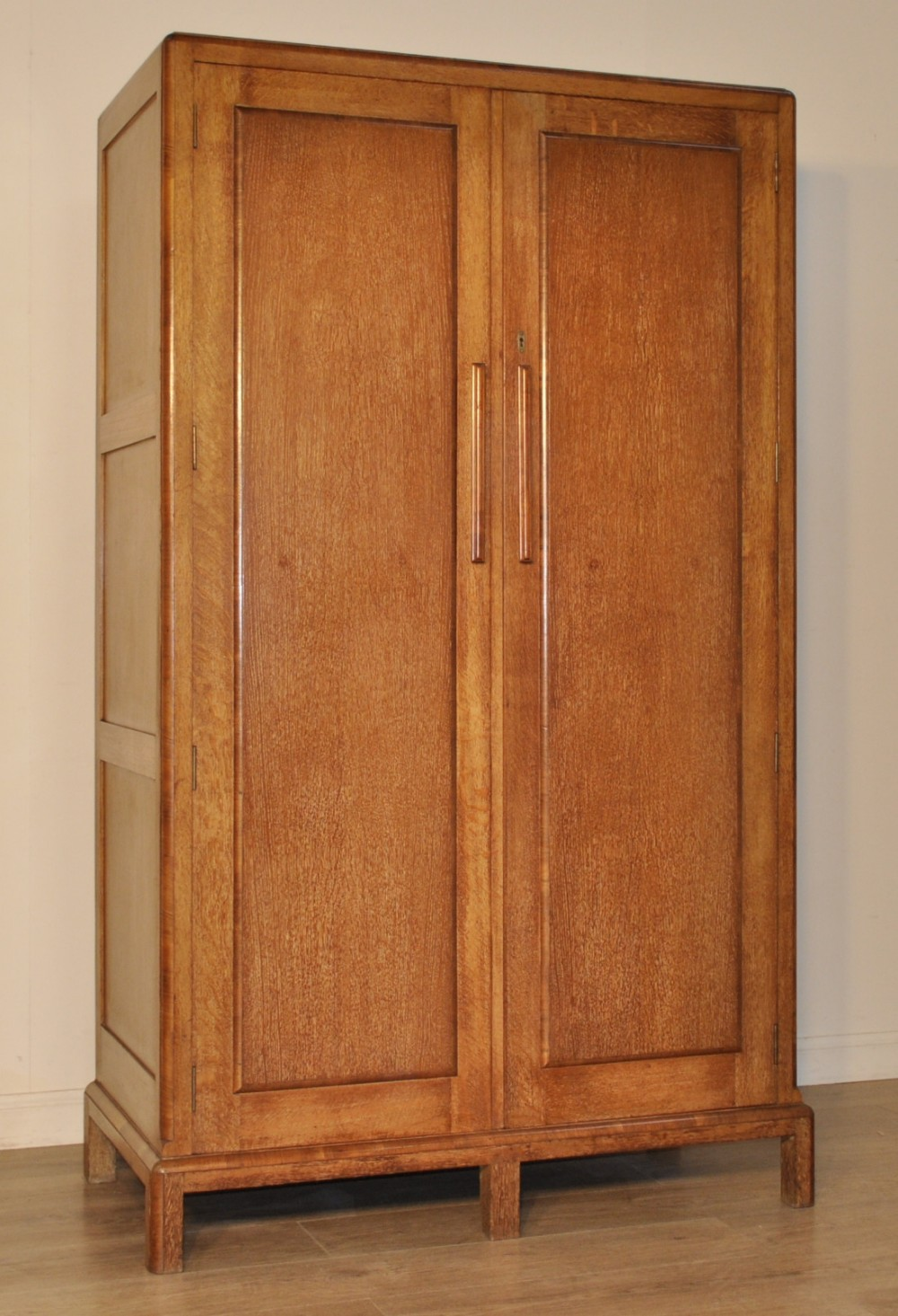 1930s Wardrobes: Attractive Large 1930's Art Deco Carved Oak Double
