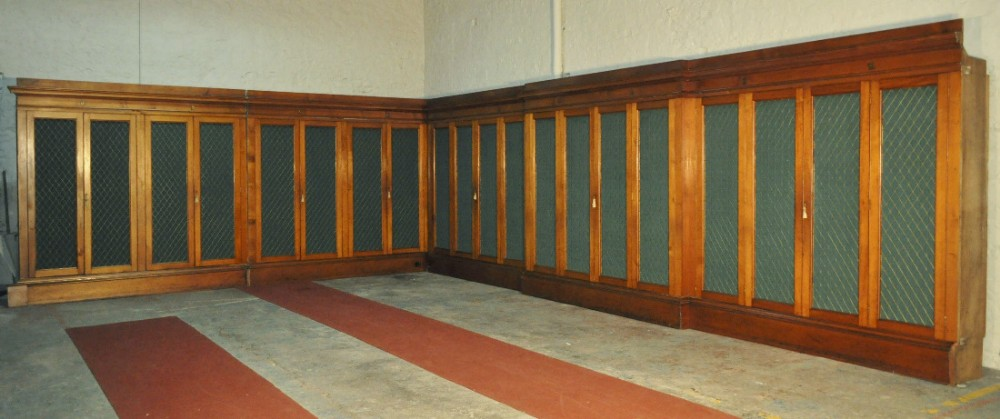 exceptionally large set of bespoke made antique pine library bookcase cabinets