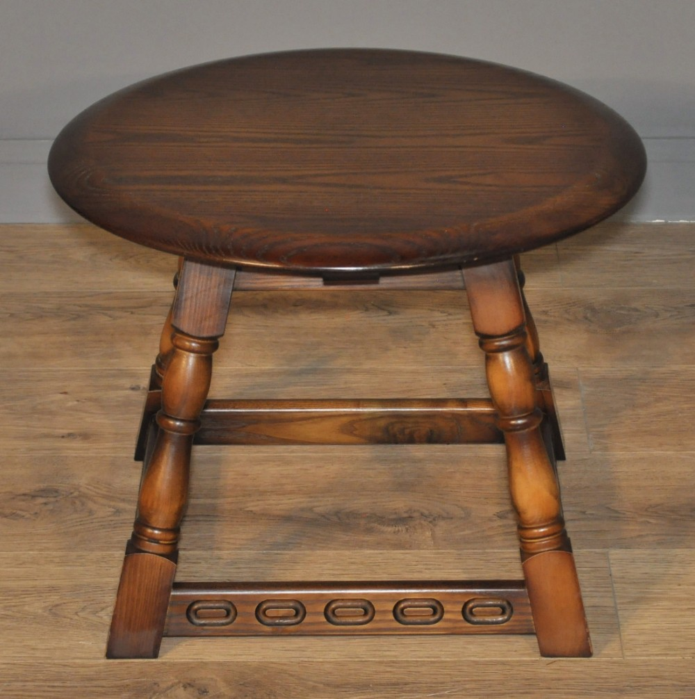 attractive small vintage priory oak circular coffee side table