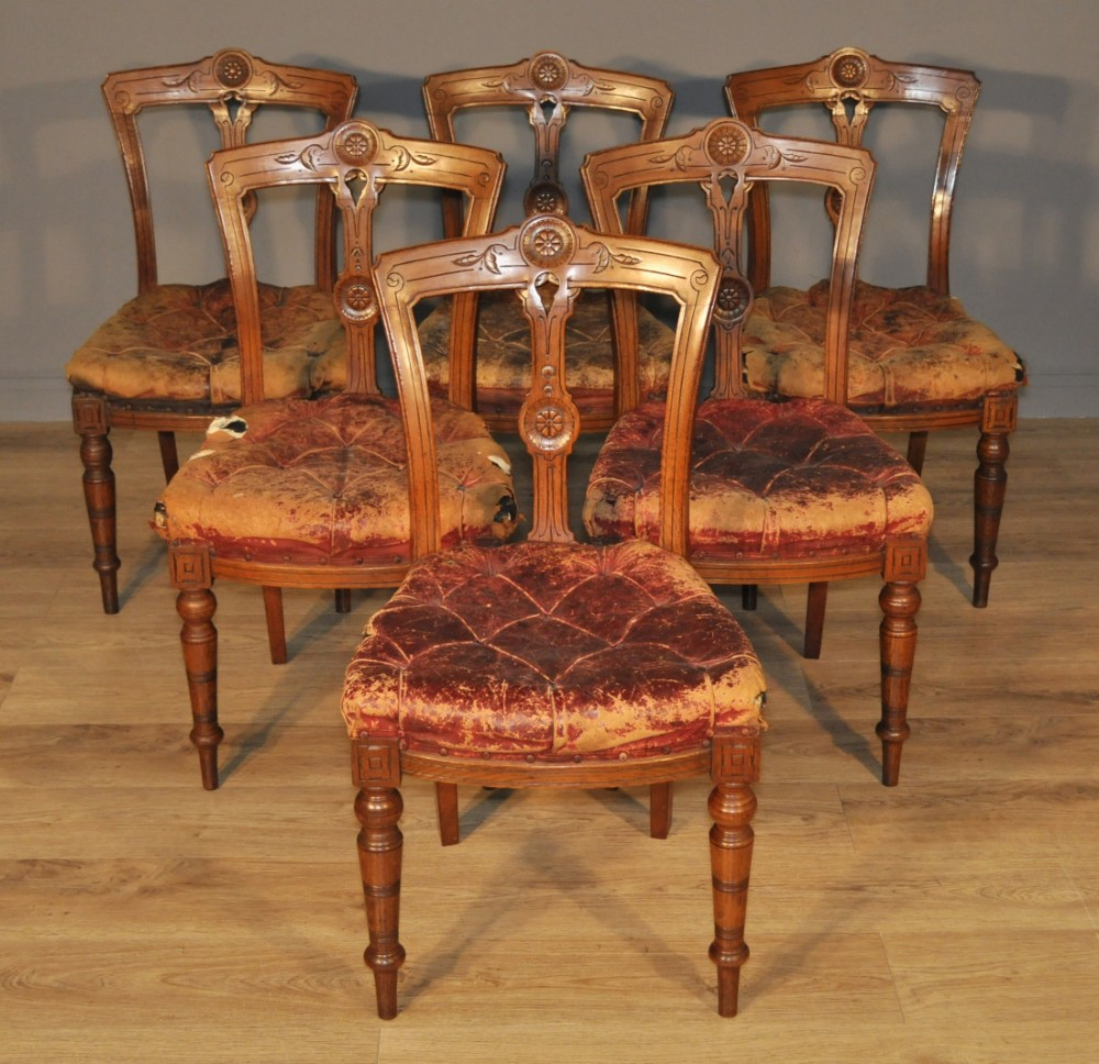 set of 6 antique victorian carved oak dining chairs for reupholstery