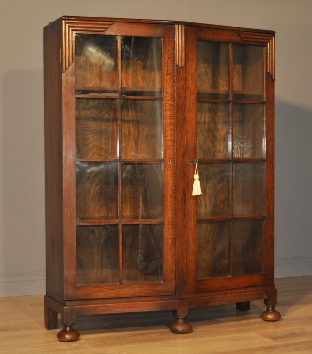 Attractive Large Vintage Art Deco Carved Oak Double Glazed