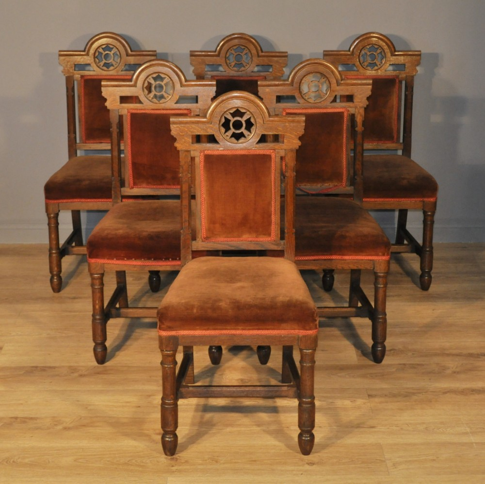 attractive church set of 6 antique victorian oak dining chairs for reupholstery 459039. Black Bedroom Furniture Sets. Home Design Ideas