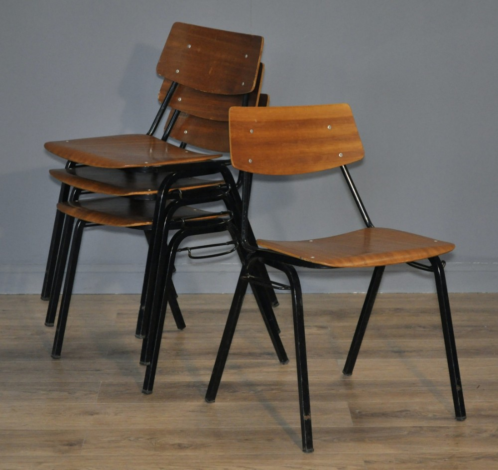 attractive set of 4 four vintage wood steel framed interlocking chairs