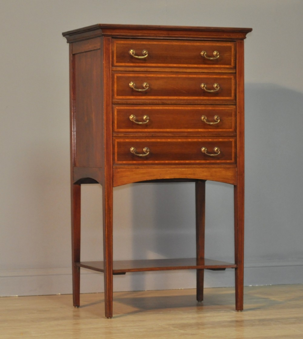 attractive small tall antique edwardian mahogany music chest of drawers cabinet