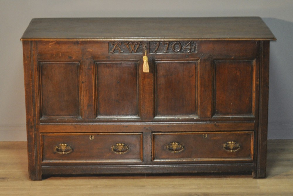 attractive large antique 18th century oak mule chest coffer dated 1704