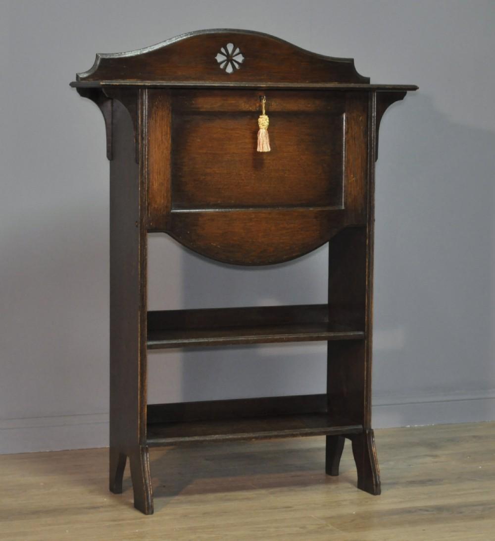 antique edwardian harris lebus arts crafts oak bureau bookcase