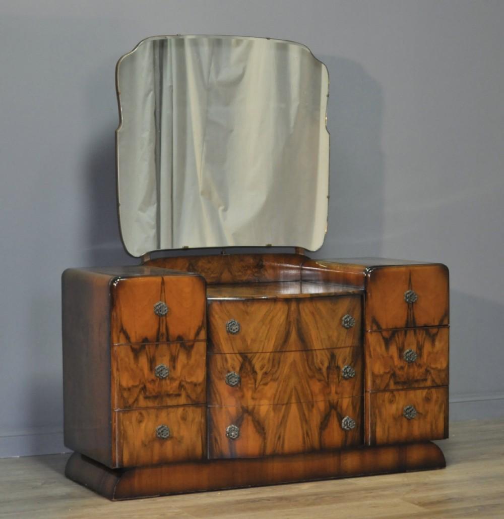 attractive large vintage art deco burr walnut dressing table chest