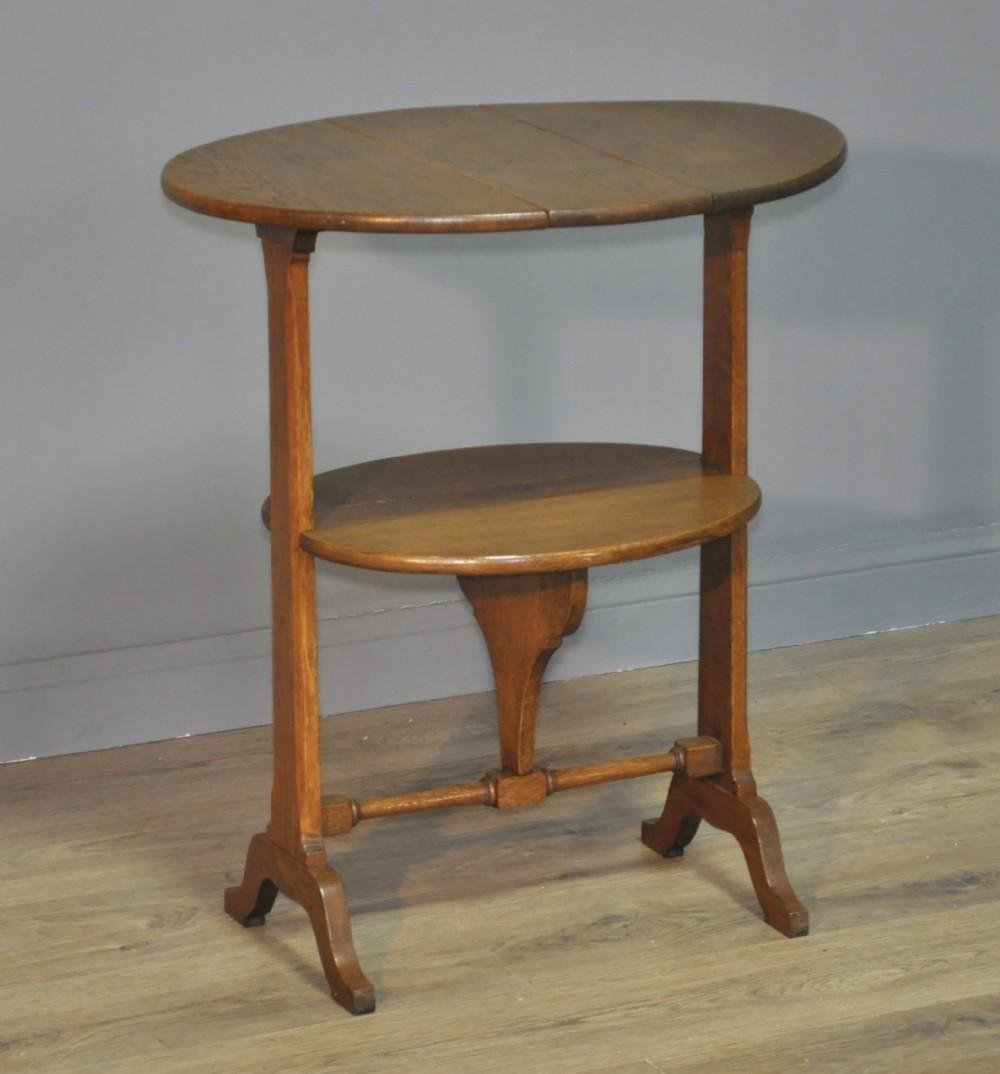 attractive small vintage oak arts crafts drop leaf side folding table