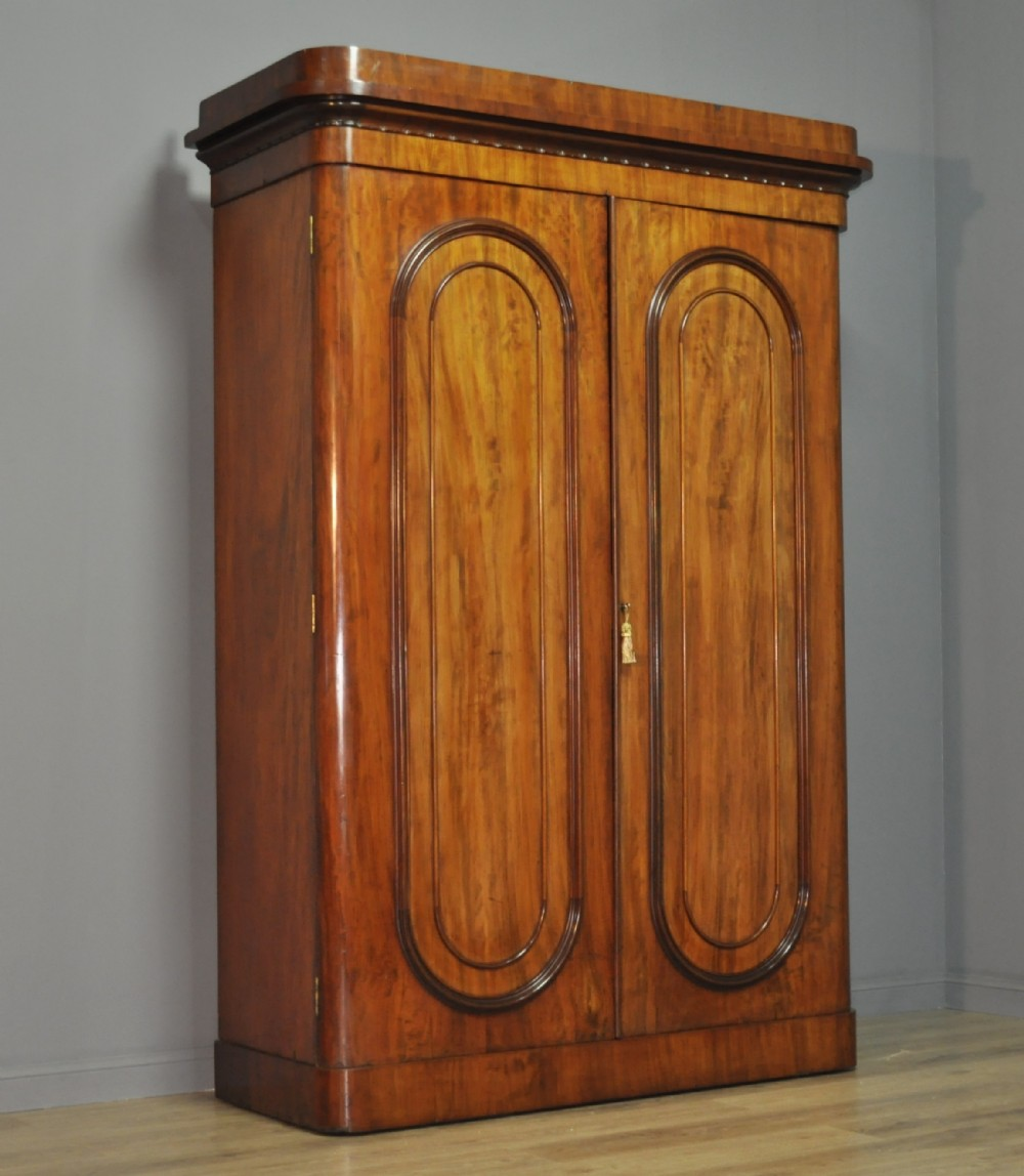 attractive large antique victorian figured mahogany double fitted wardrobe