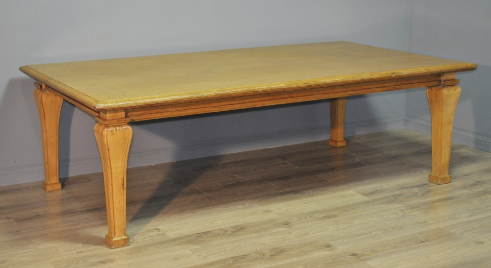 attractive large antique victorian solid oak conference boardroom dining table