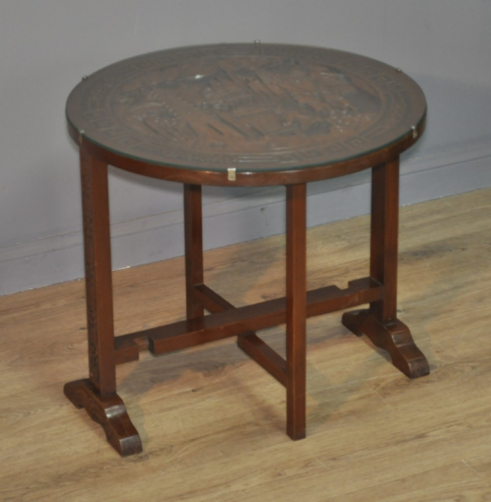 attractive small vintage carved oriental side folding glass topped table