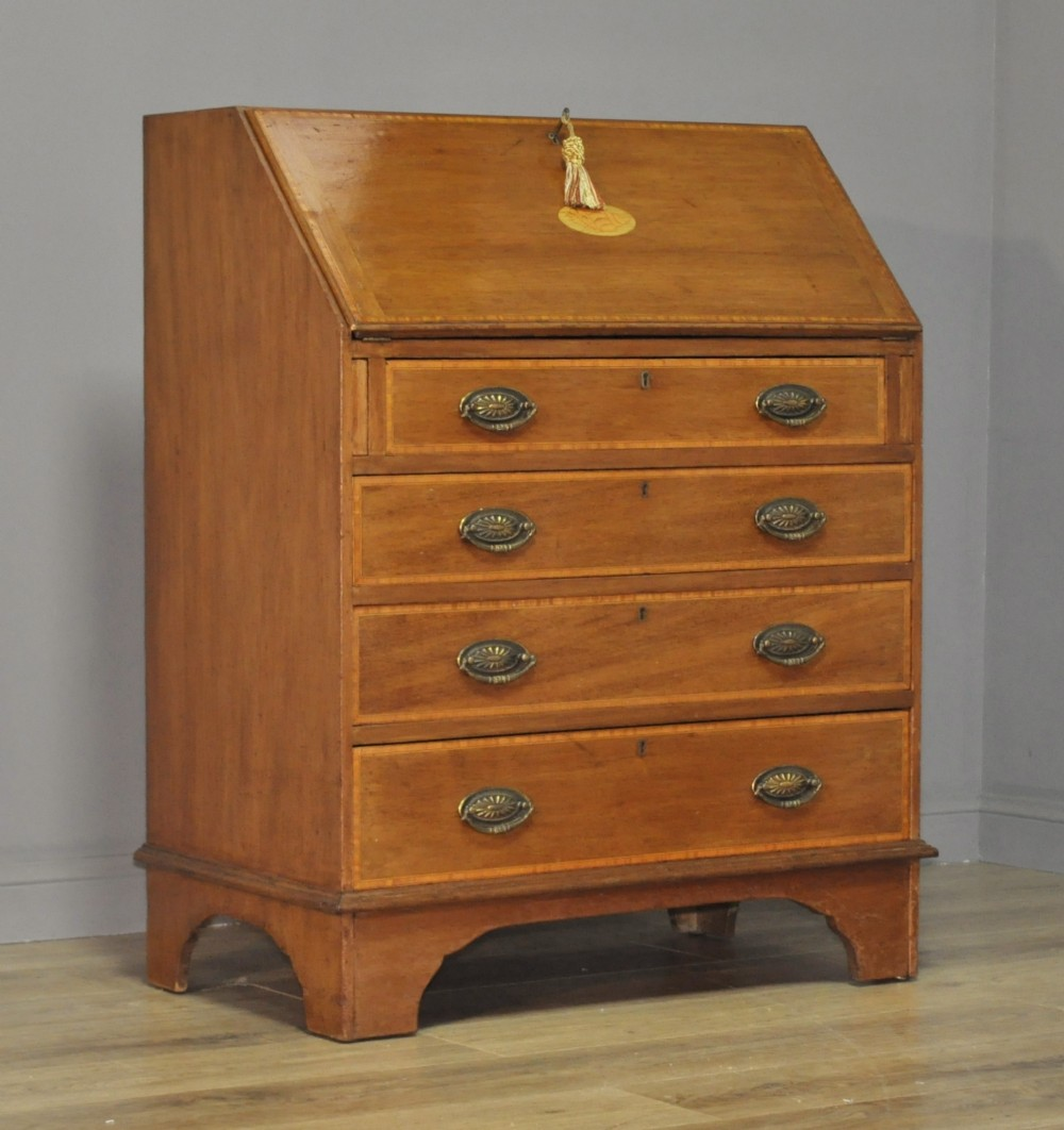 attractive antique edwardian inlaid mahogany bureau chest of four drawers