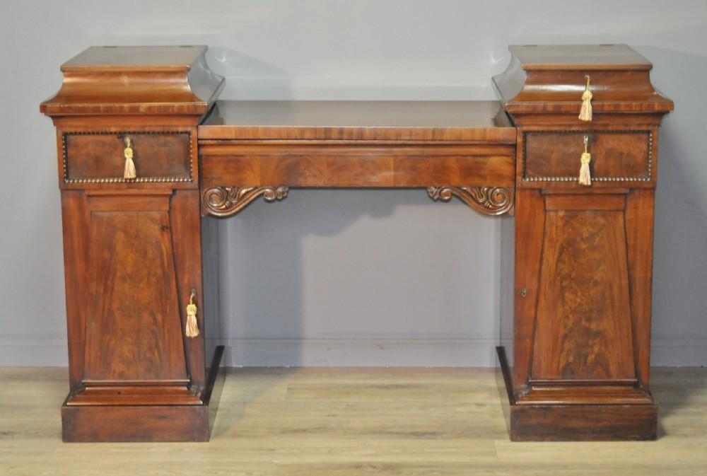 attractive antique victorian mahogany twin pedestal sideboard cabinet